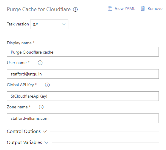 Screenshot of Purge Cache for Cloudflare release task